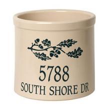 Personalized Oak Branch Address 2 Gallon Crock - Green Engraving / Bristol Crock