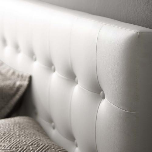 Emily Full Upholstered Vinyl Headboard in White