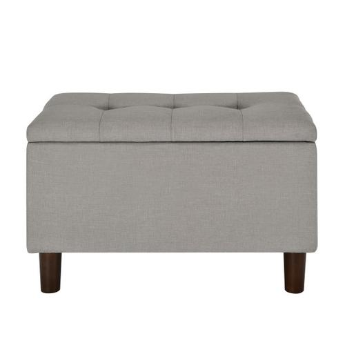 29 Inch Hinged Top Storage Bench w/ Grid-Tufted Seat in Glacier