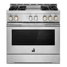 """See Details - 36"""" RISE Gas Professional-Style Range with Chrome-Infused Griddle"""