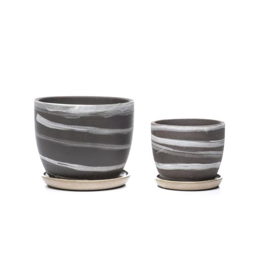 Wild Striped Mezzo Planter w/ attached saucer - Set of 2