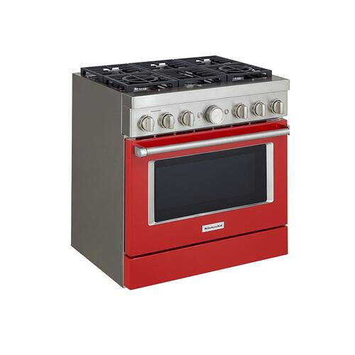 KitchenAid® 36'' Smart Commercial-Style Dual Fuel Range with 6 Burners - Panel Ready