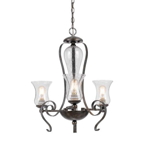 60W X 3 Metal 3 Light Chandelier (Edison Bulbs Not included)