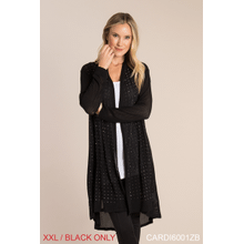 Studded Open Knit Cardigan - XXL Black (2 pc. ppk.)