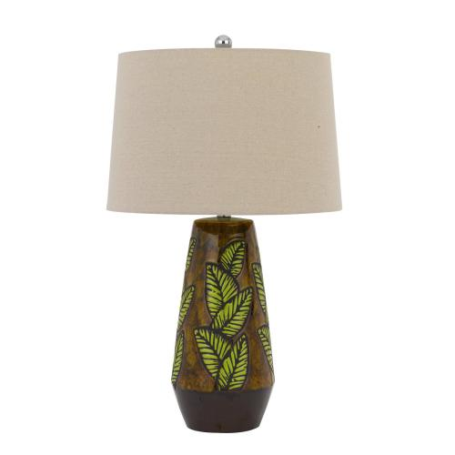 150W 3 way Hanson ceramic table lamp with hardback taper linen drum shade