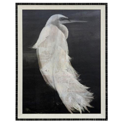 Style Craft - TEXTURED EGRET I  35in w X 45in ht  Made in USA  Textured Framed Print