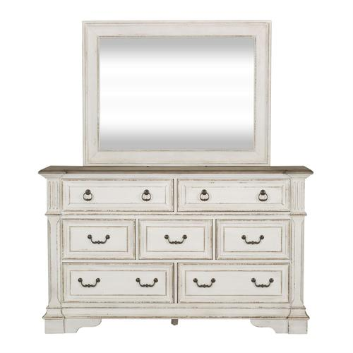 King Uph Sleigh Bed, Dresser & Mirror, Night Stand