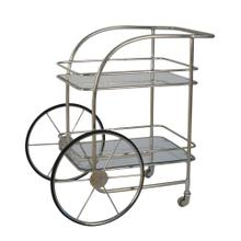 2-tier Silver Metal Bar Cart:chariot