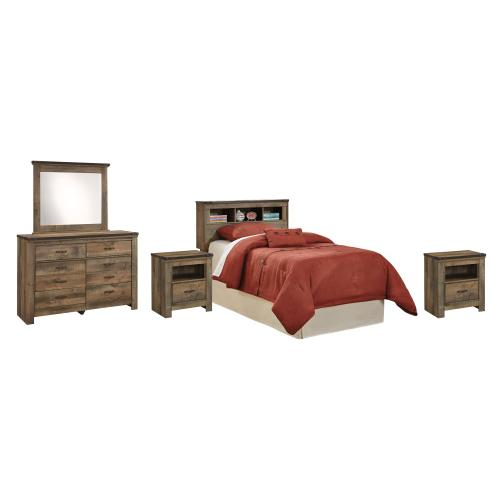 Twin Bookcase Headboard With Mirrored Dresser and 2 Nightstands
