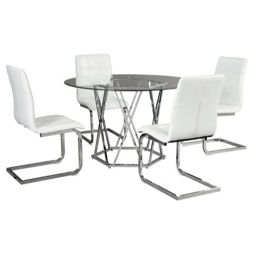 Dining Table and 4 Chairs White/Chrome Finish