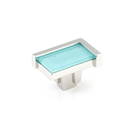 "Tallmadge, Knob, Rectangle, 1-3/4"" Polished Nickel, Turquoise Glass"