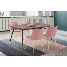 View Product - Messina Pink Velvet and Walnut 5 Piece Dining Set