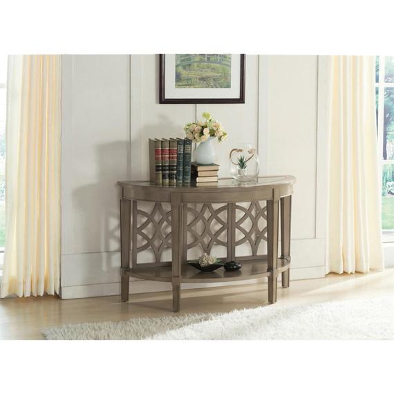 Riverside - Demilune Sofa Table - Dove Grey Finish