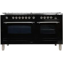 Nostalgie 60 Inch Dual Fuel Natural Gas Freestanding Range in Glossy Black with Chrome Trim