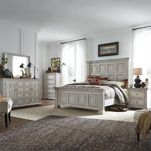 King Panel Bed, Dresser & Mirror, Chest, N/S