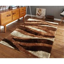 Vibrant Hand Tufted Modern Shag Lola 007 Area Rug by Rug Factory Plus - 5' x 7' / Brown
