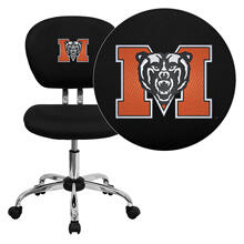 Mercer University Bears Embroidered Black Mesh Task Chair with Chrome Base