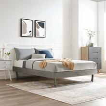 Billie Twin Wood Platform Bed Frame in Gray
