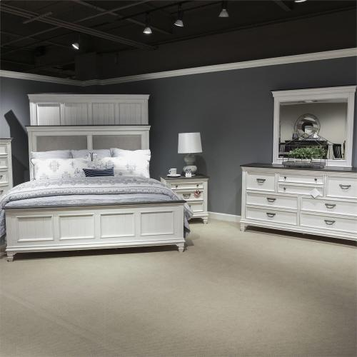 King California Upholstered Bed, Dresser & Mirror, Night Stand