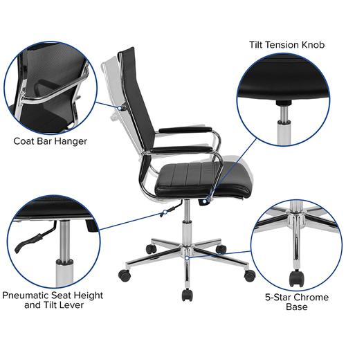 Gallery - High Back Black Mesh Contemporary Executive Swivel Office Chair with LeatherSoft Seat