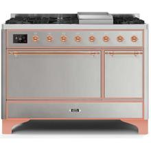 Majestic II 48 Inch Dual Fuel Liquid Propane Freestanding Range in Stainless Steel with Copper Trim