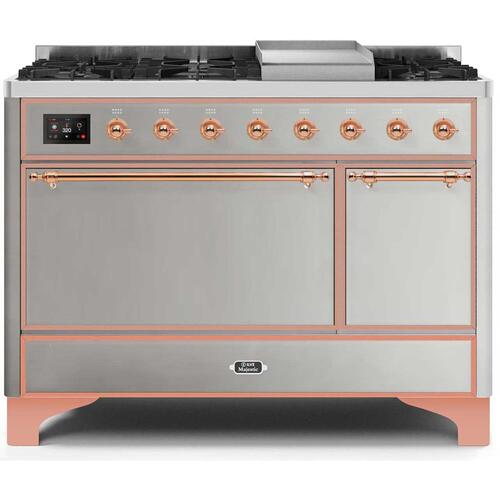 Ilve - Majestic II 48 Inch Dual Fuel Liquid Propane Freestanding Range in Stainless Steel with Copper Trim