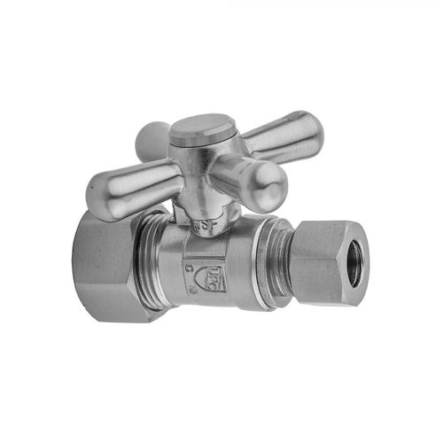 """Polished Nickel - Quarter Turn Straight Pattern 5/8"""" O.D. Compression (Fits 1/2"""" Copper) x 3/8"""" O.D. Supply Valve with Standard Cross Handle"""