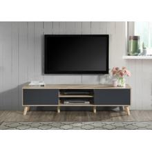"""See Details - 2035 NATURAL & GRAY Faux Wood TV Stand - 70"""" L"""