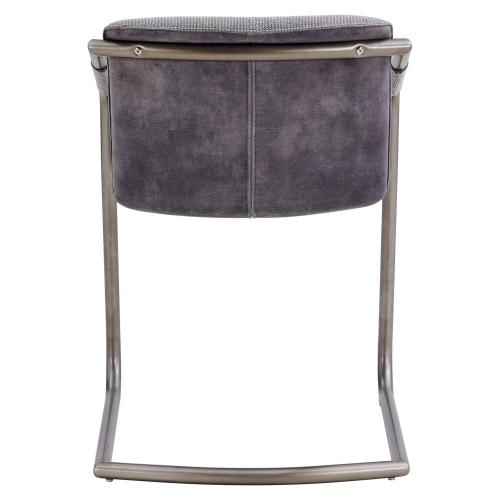 Indy Fabric Dining Side Chair Silver Frame, Sage Gray/Velvet Gray
