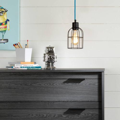 Hanging lamp with bell shade - Black and Blue