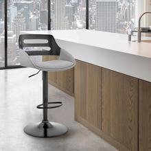 View Product - Karter Adjustable Grey Faux Leather and Black Wood Bar Stool with Black Base