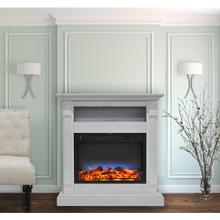 Cambridge Sienna 34 In. Electric Fireplace w/ Multi-Color LED Insert and White Mantel, CAM3437-1WHTLED