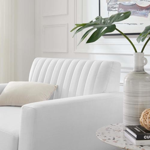 Modway - Engage Channel Tufted Fabric Armchair in White