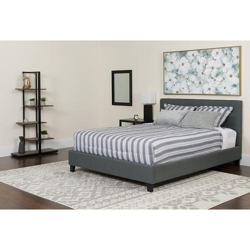 Chelsea Full Size Upholstered Platform Bed in Dark Gray Fabric with Pocket Spring Mattress