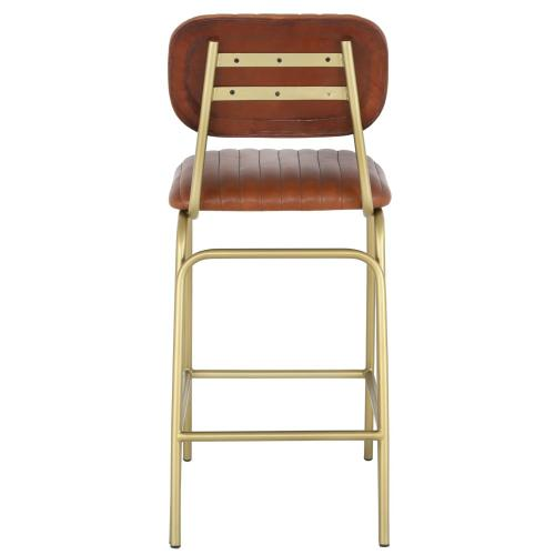 Lewis Leather Counter Stool Gold Legs, Ale Brown