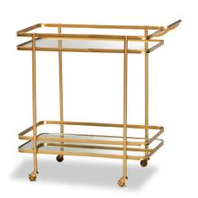 See Details - Baxton Studio Destin Modern and Contemporary Glam Brushed Gold Finished Metal and Mirrored Glass 2-Tier Mobile Wine Bar Cart