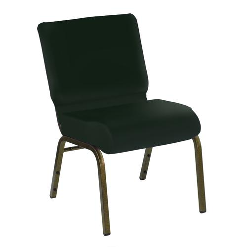 HERCULES Series 21''W Church Chair in E-Z Oxen Green Vinyl - Gold Vein Frame