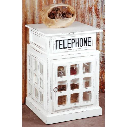 Product Image - Cottage English Phone Booth End Table - Distressed White