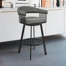 """View Product - Chelsea 30"""" Bar Height Swivel Bar Stool in Black Finish and Gray Faux Leather"""