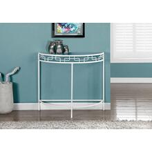 """See Details - ACCENT TABLE - 36""""L / WHITE METAL HALL CONSOLE"""