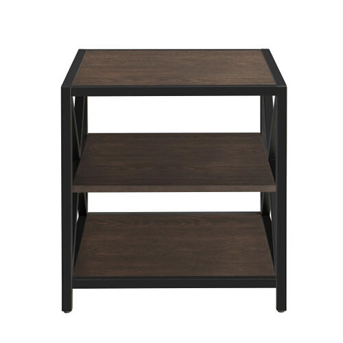 Accentrics Home - Dark Brown Metal Framed Three Shelf End Table