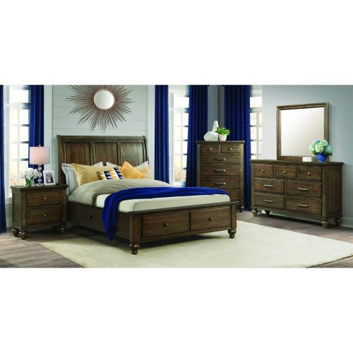 Chatham Grey Storage Bedroom - Queen Storage Bed, Dresser, Mirror, Chest, and Night Stand