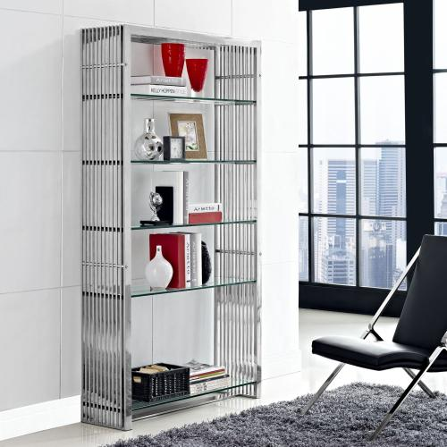 Gridiron Stainless Steel Bookshelf in Silver