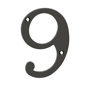 """Deltana - 6"""" Numbers, Solid Brass - Oil-rubbed Bronze"""