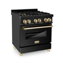"""View Product - ZLINE Autograph Edition 30"""" 4.0 cu. ft. Dual Fuel Range with Gas Stove and Electric Oven in Black Stainless Steel with Accents (RABZ-30) [Accent: Gold]"""