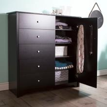 Vito - Door Chest with 5 Drawers, Pure Black