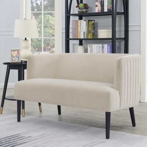 Velvet Glam Channel Tufted Sofa in Cream
