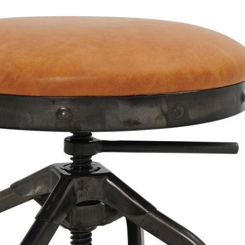 Industrial PU Adjustable Stool Gunmetal Legs, Vintage Cedar