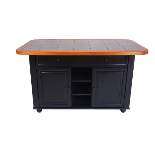 Antique Black Kitchen Island with Cherry Trim and Gray Tile Top