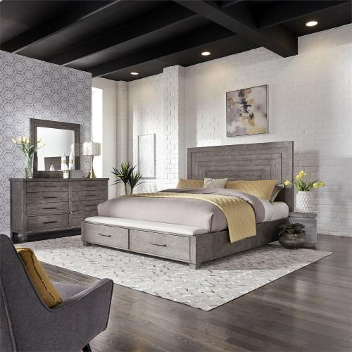 King California Storage Bed, Dresser & Mirror